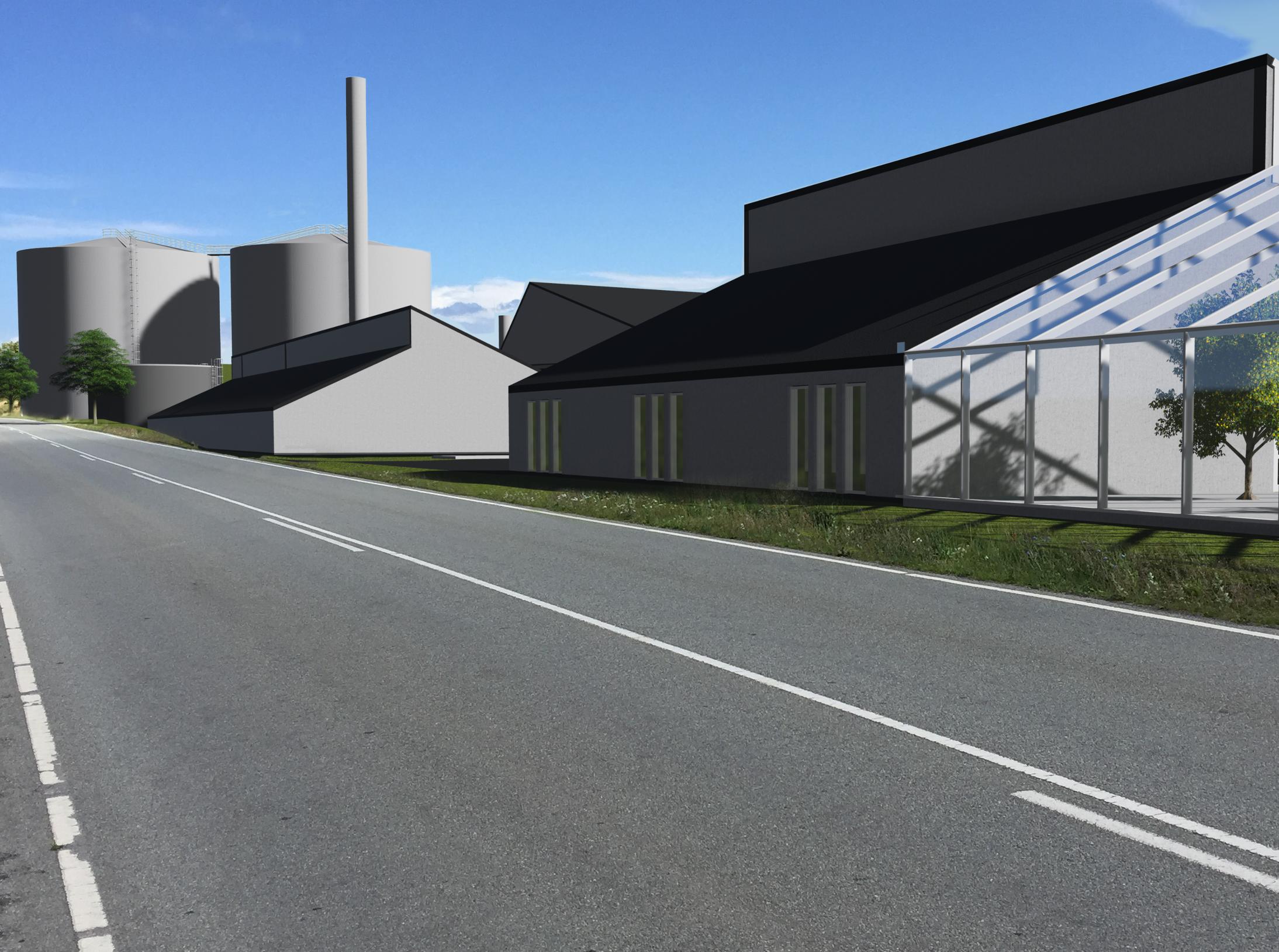 Visualisering af biogasanlæg på Samsø.